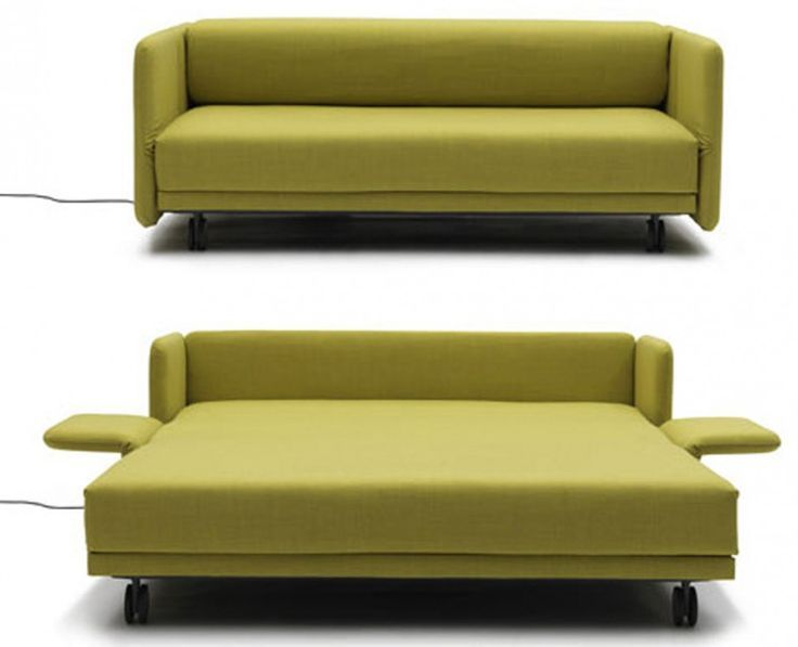Furniture, Maximizing Small Spaces Using Modern Sleeper Sofa Queen With  Green Fabric Cover And Fold