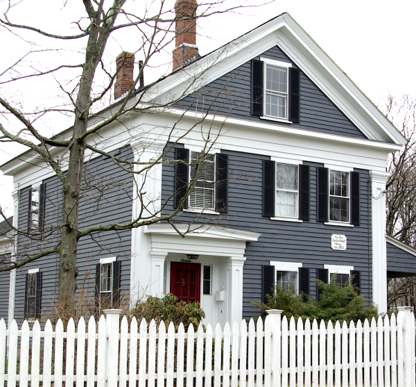 Dark Gray Blue Siding White Trim Red Door Black Shutters White Picket Fence Paint Colors