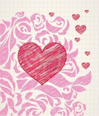abstract love doodle sketchy heart and roses ballpoint pen drawing on a notepad page stock photo