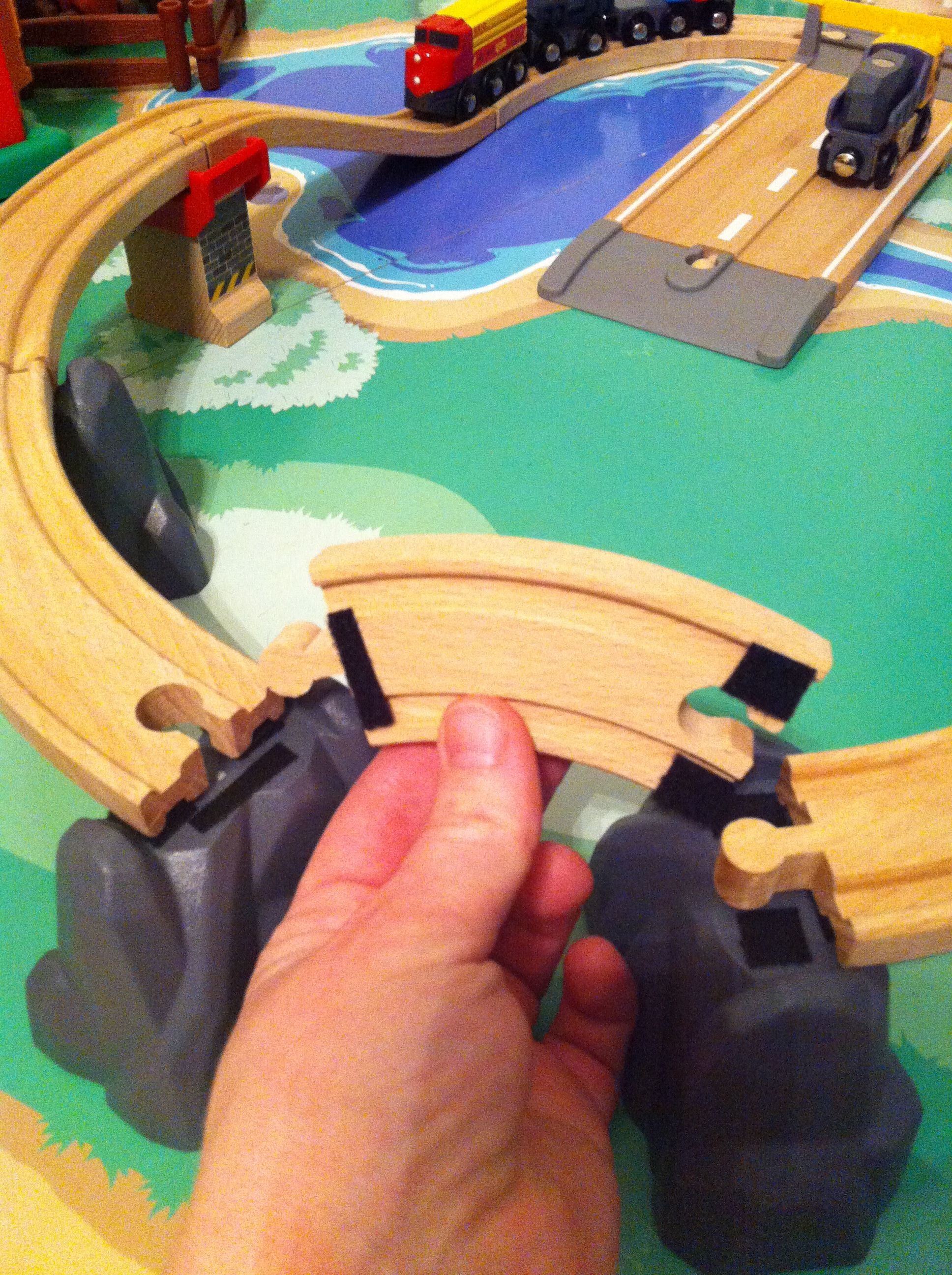 Velcro is the secret to toddler proofing your child s wooden train