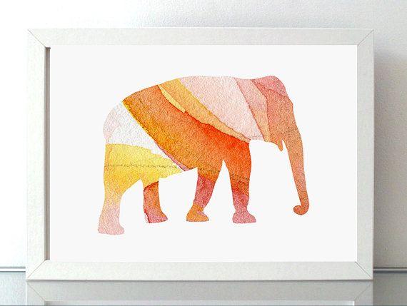 olifant kunst  giclee print  aquarel van Lemonillustrations op Etsy