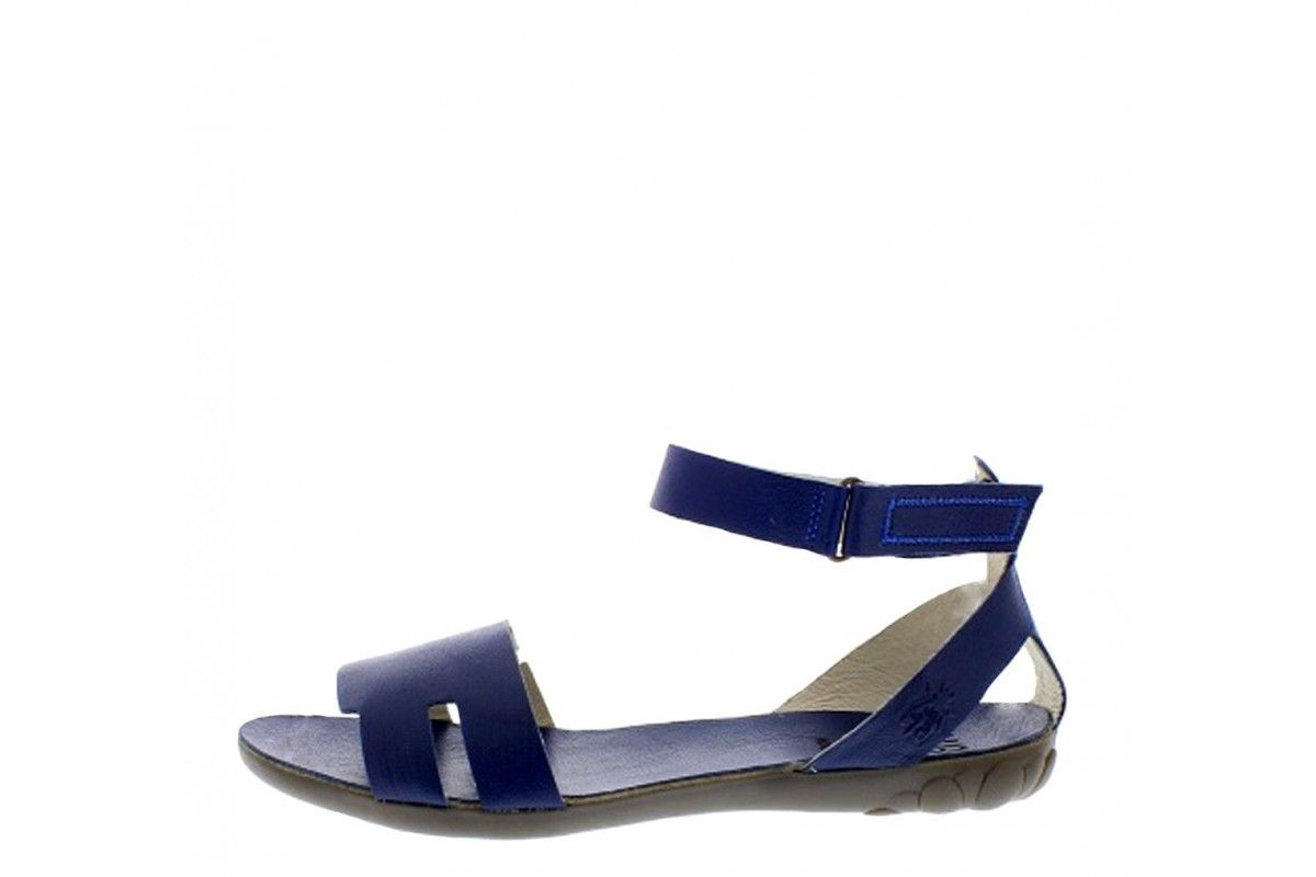 0baeea66f Fly London Fuxa Blue Flat Ankle Strap Open Toe Leather Sandals