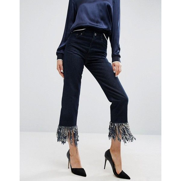 ASOS Authentic Straight Leg Jeans in James Wash with Fringe Hem (640 MXN) ❤ liked on Polyvore featuring jeans, blue, fringe-hem jeans, blue jeans, zip jeans, zipper jeans and straight leg jeans