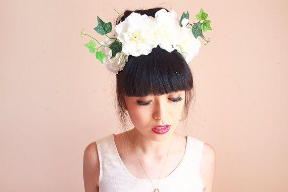 Statement flower crown headband // oversize, wedding bridal headpiece, quirky, lana del rey, summer, festival #crownheadband