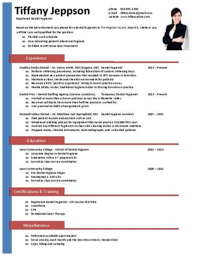 Get this and other extra cool resume templates that you can - dental hygiene resumes