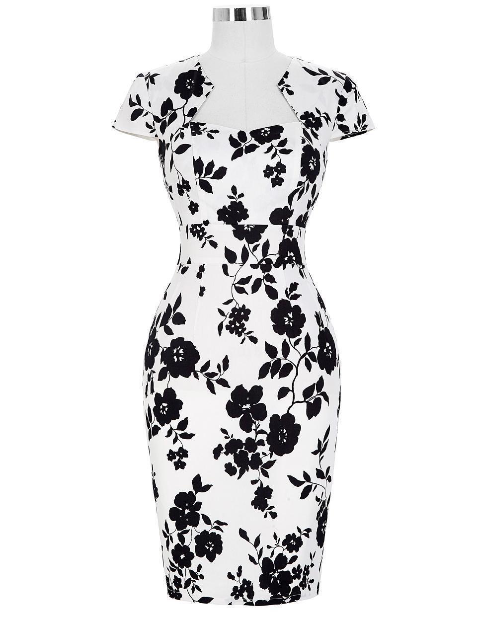 8cc45607c54 Plus Size Pencil Rockabilly Office Vintage Bodycon Dress