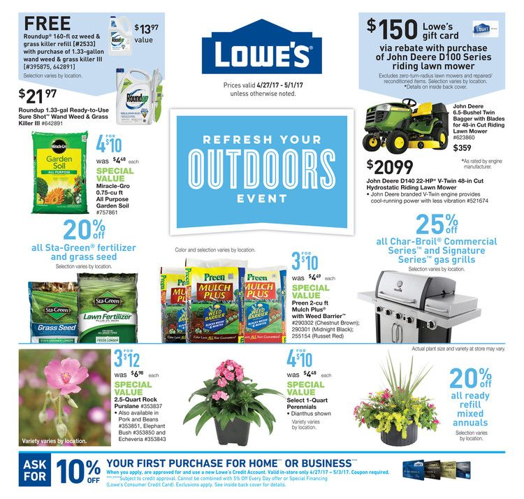 Lowe\'s Weekly Ad April 27 - May 1, 2017 - http://www.olcatalog.com ...