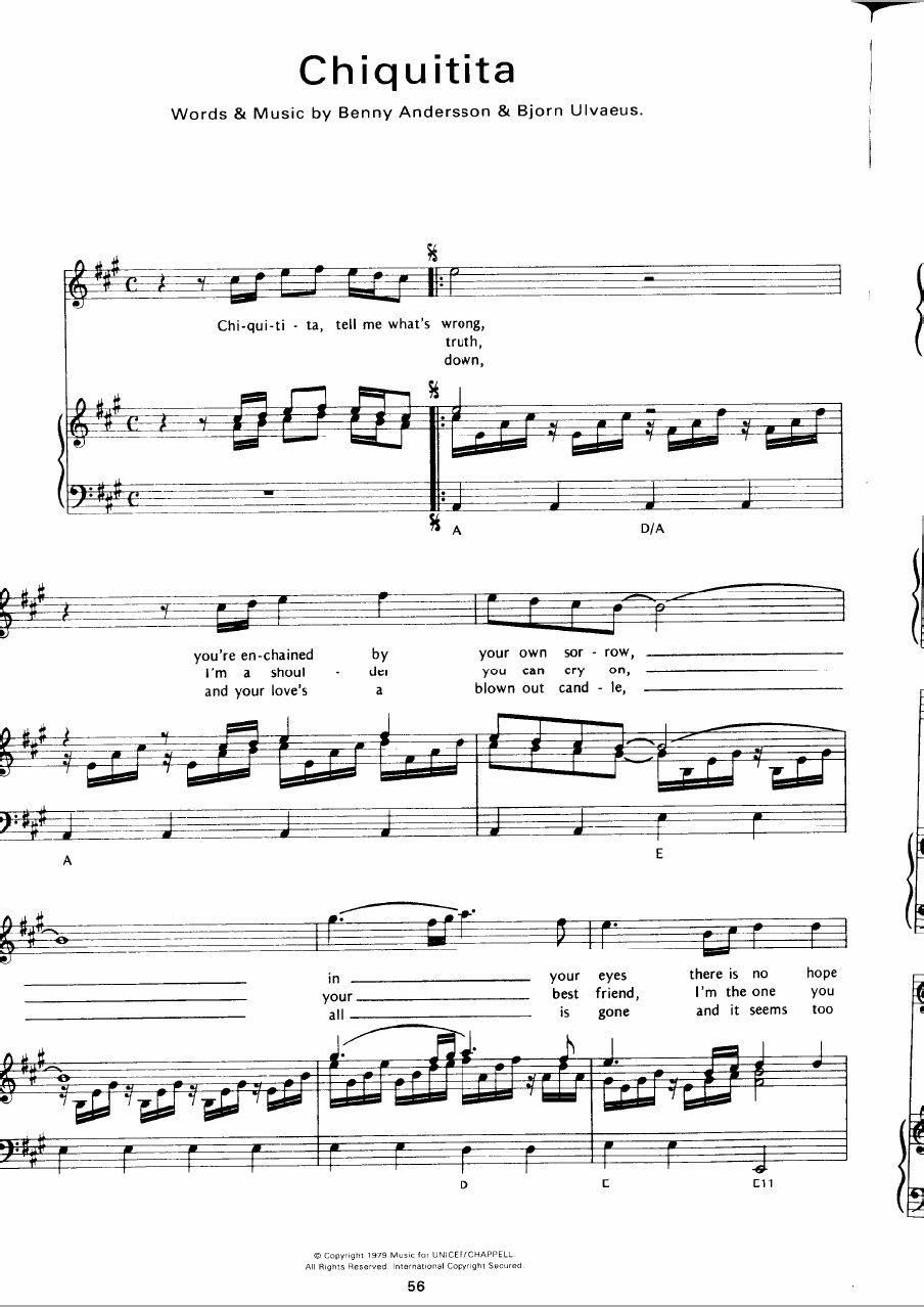 Abba Chiquitita Sheet Music Partitura Sheet Music Sheet Music Pdf Abba