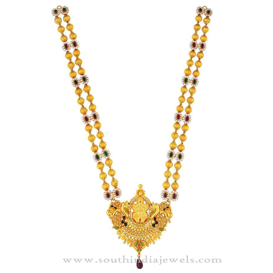 Gold beaded long necklace from kamadenu jewellery gold necklaces collection mozeypictures Choice Image