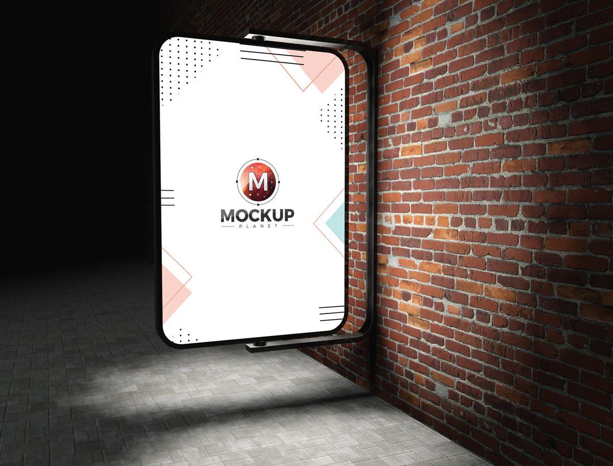 Download Free Street Advertising Billboard On Bricks Wall Mockup Psd Billboard Mockup Poster Mockup Free Free Mockup