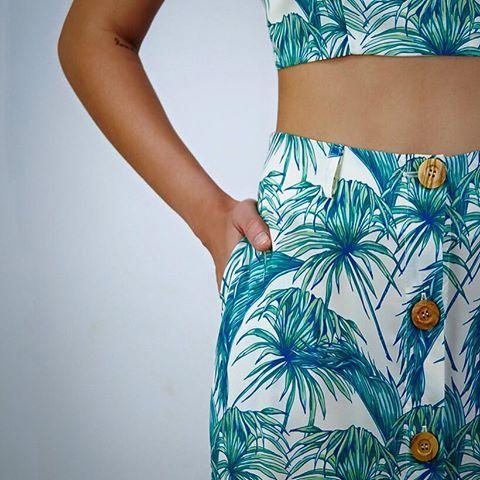 "Tropical. (Featuring ""LOLA"" bustier and ""AZALEA"" maxi skirt.) photo YFOS Online Shop #karavan #karavanclothing #karavangirl #ss16 #summer16 #summer #mermaidsandrascals #lola #bustier #azalea #maxiskirt #palmtrees #pattern #love #greekdesigners"