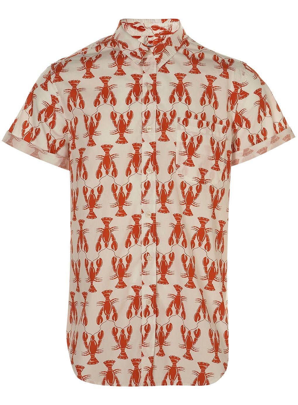 435d2033a1fc WHITE LOBSTER PRINT SHORT SLEEVE SHIRT | nautical | Lobster shirt ...
