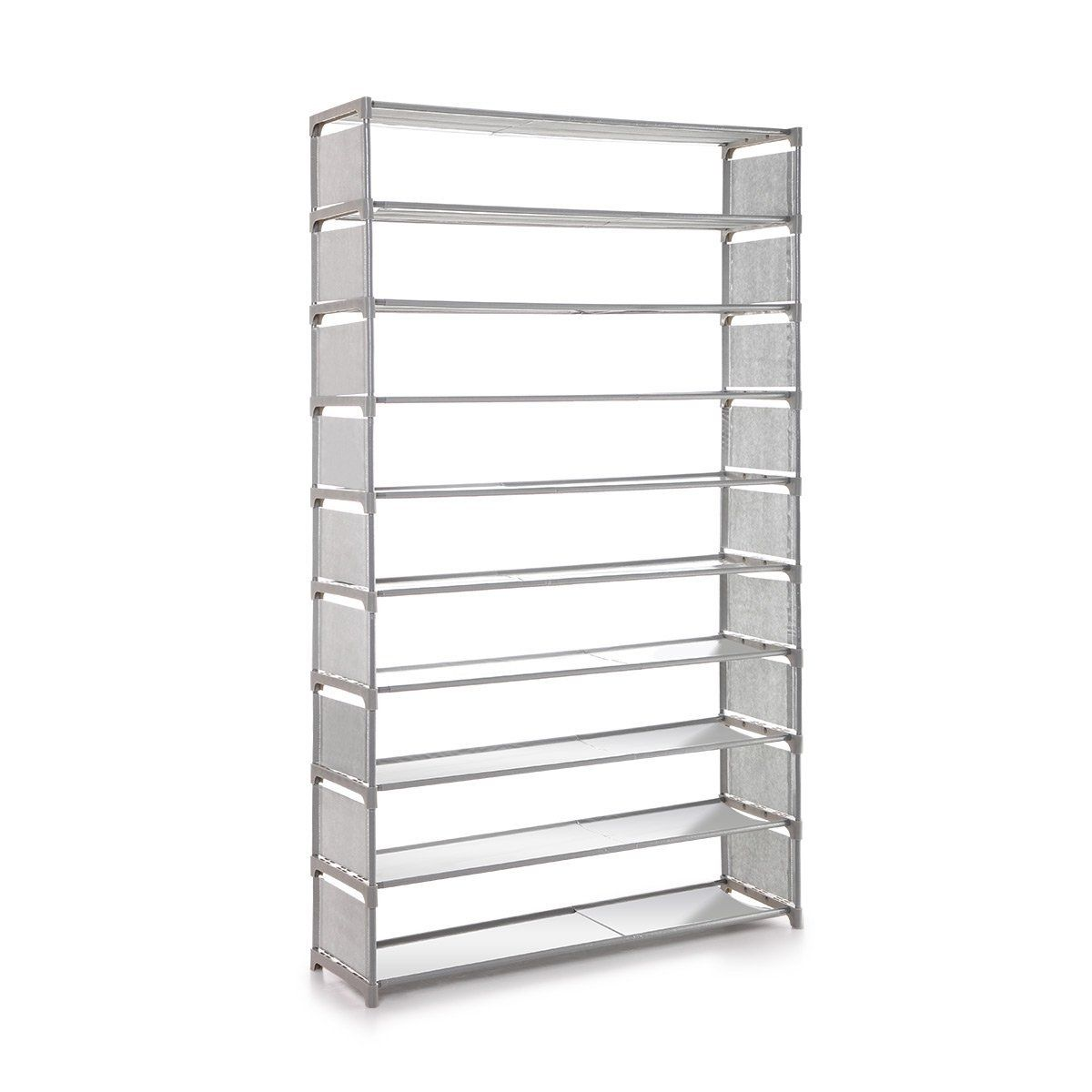 10 Tier 50 Pair Stackable Shoe Storage Rack Non Woven Fabric