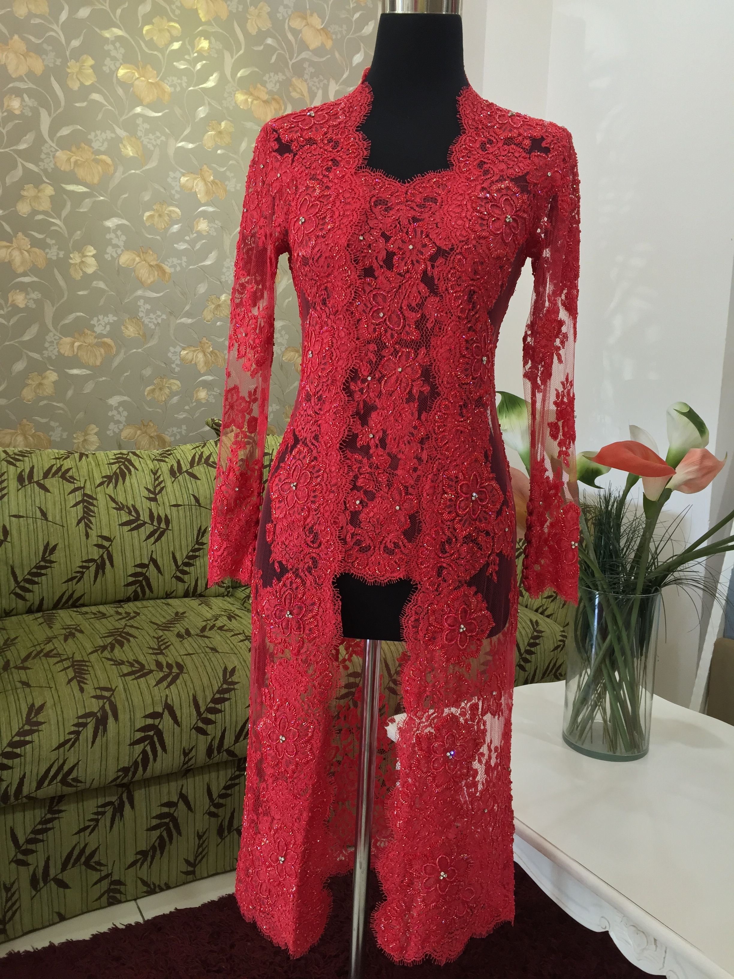 Kebaya Brokat Koronka Kebaya Baju Kurung Indonezyjska Moda Kebaya Panny Młode Haft