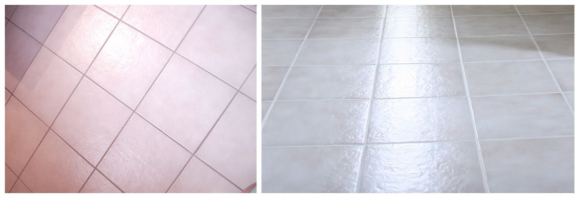 How To Update Builder Beige Ceramic Tile Floors Paint The Grout