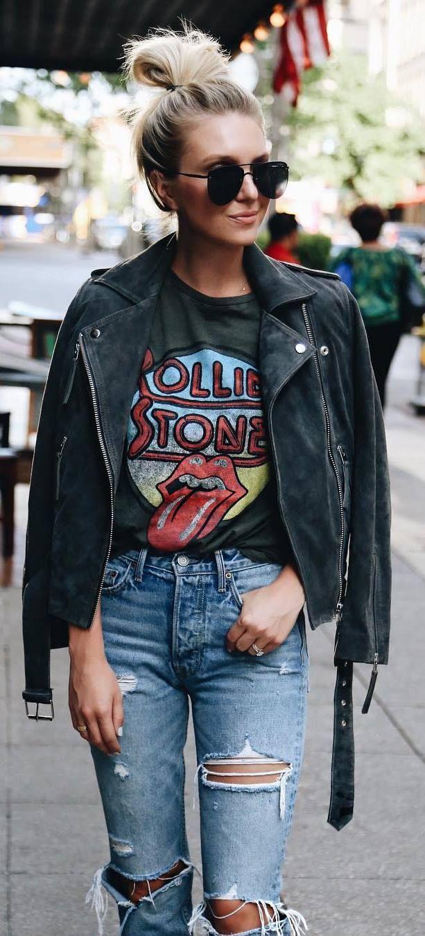 street style addict / biker jakcet + printed tee + ripped jeans