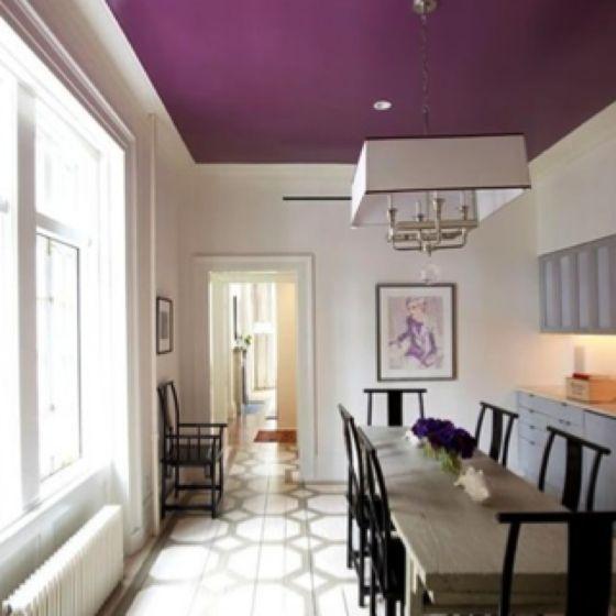 Purple Ceiling.... Creates A Cozy, Dramatic Effect.. I