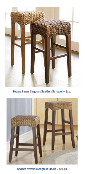 Copy Cat Chic Find Pottery Barn S Seagrass Backless Barstool Vs Seventh Avenue S Seagrass Stools Backless Bar Stools Seagrass Bar Stools Bar Stools