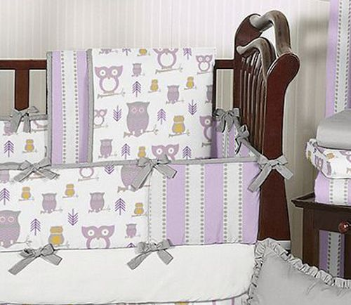 Lavender Gray Purple And White Owl Baby Grey Crib Bedding Set Made In Usa