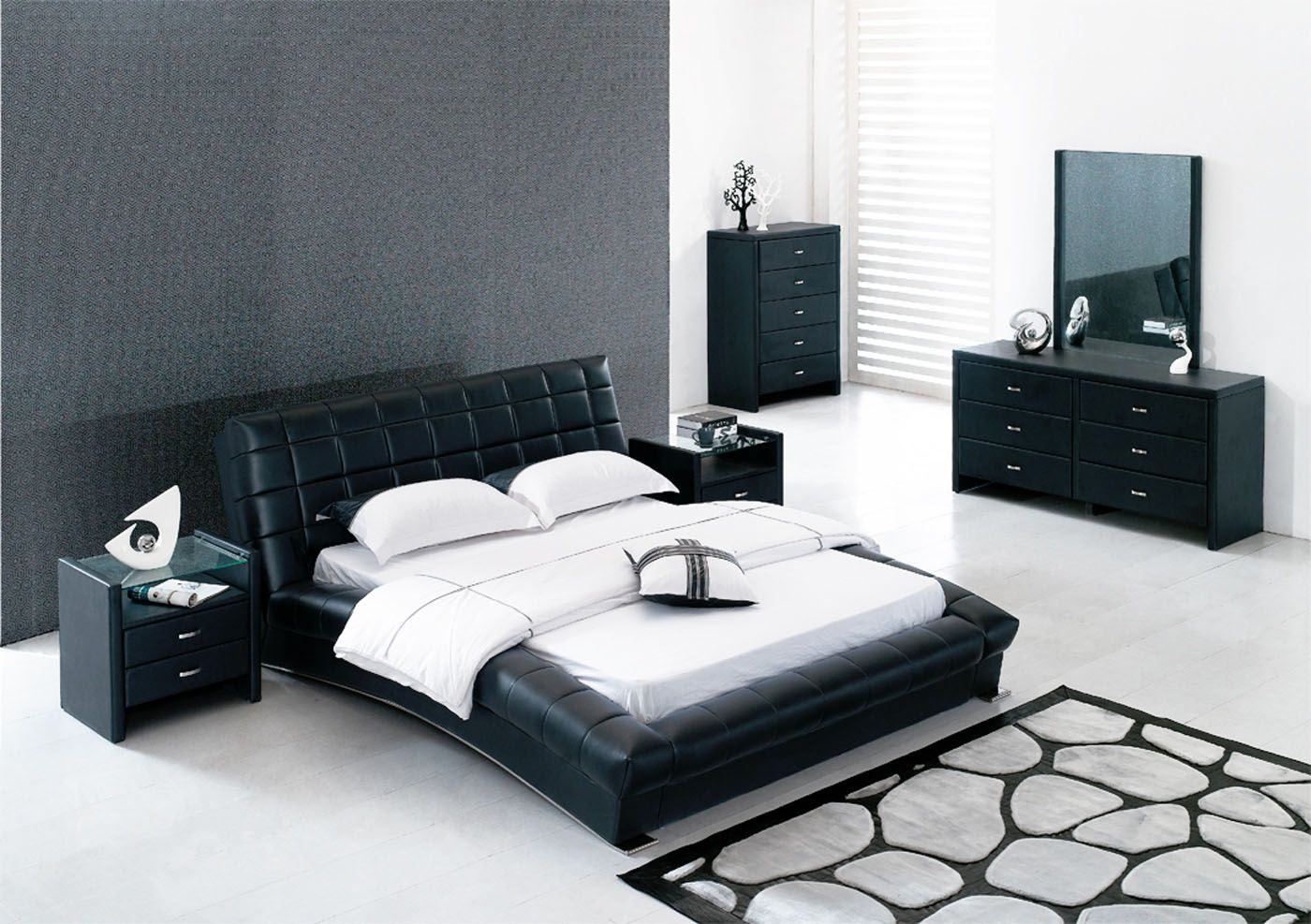Bedroom furniture for men - Black Leather Bedroom Furniture For Contemporary Bedroom Sets With Painted Wall And White Ceramic Bedroom Floor