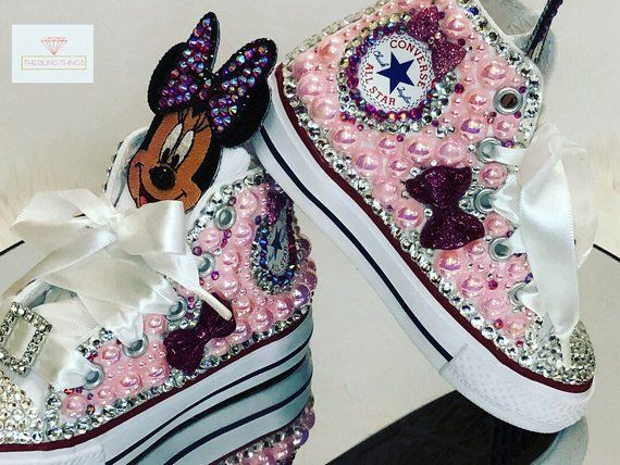 3031eb712374 Minnie Mouse Shoes   Toddler Converse   Bedazzled Sneakers ...