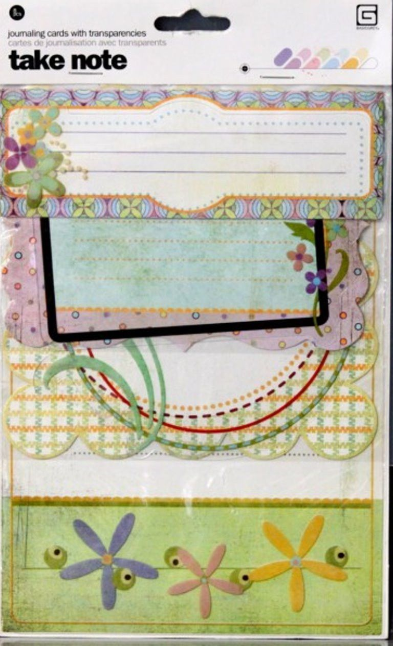 Basic Grey Take Note Journaling Cards With Transparencies Embellishments