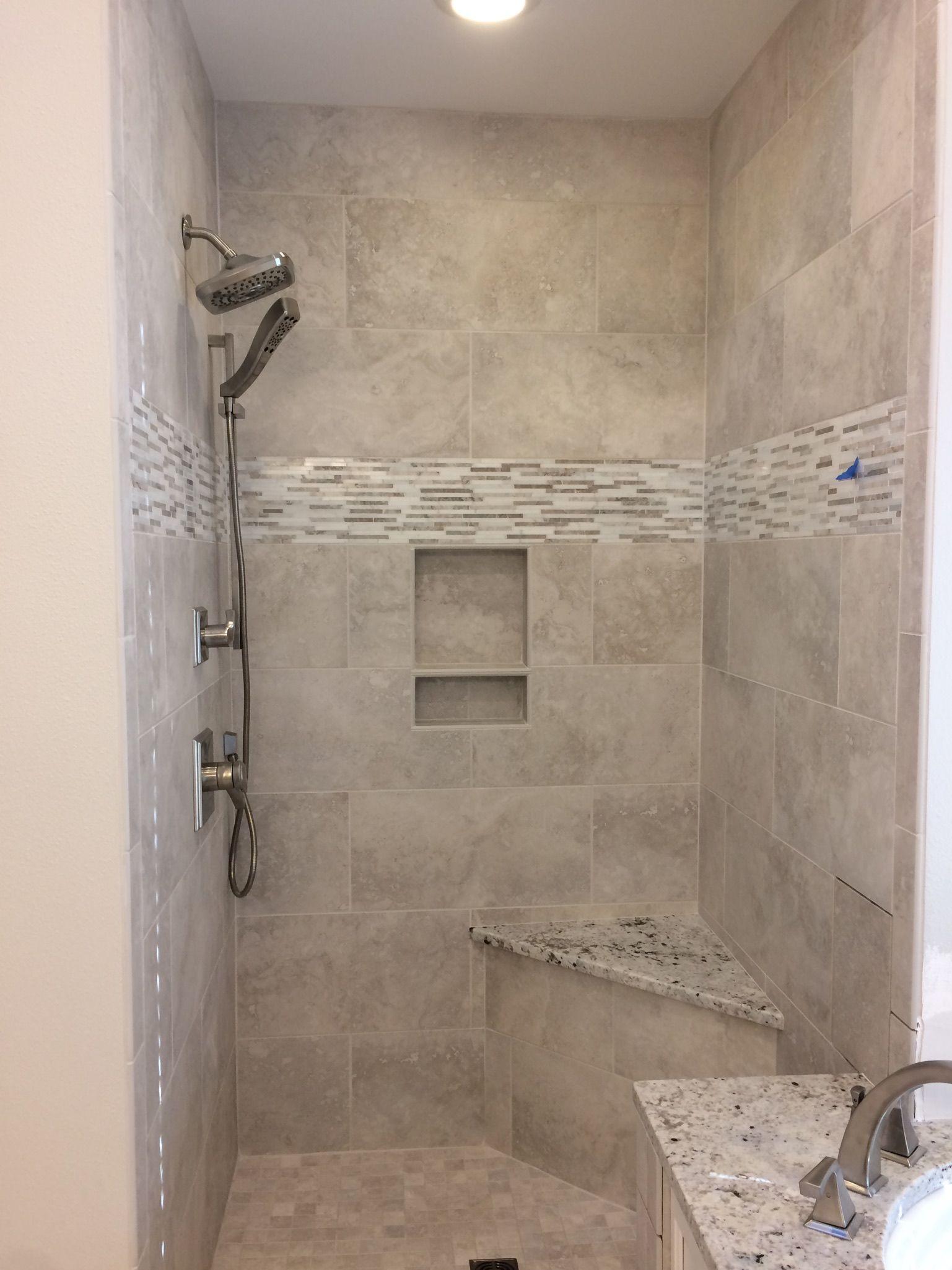 Renaissance Silver Tile and White Ice Granite  Bathroom