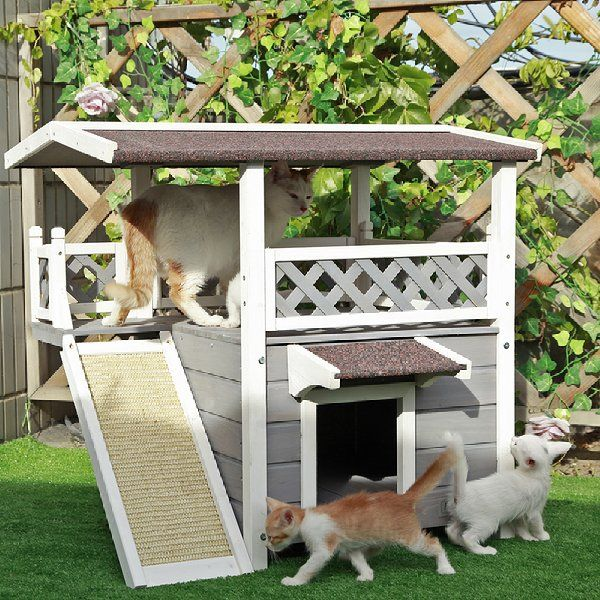 Petsfit 30 X22 X29 Outdoor Cat House New Version With Escape Door Ideal Cat Condo Weatherpr Outdoor Cat House Cat House Diy Outdoor Cat Shelter