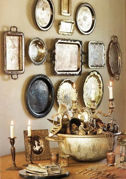 Silverplate Trays Hung On A Wall Are Stunning Wall Art Plates