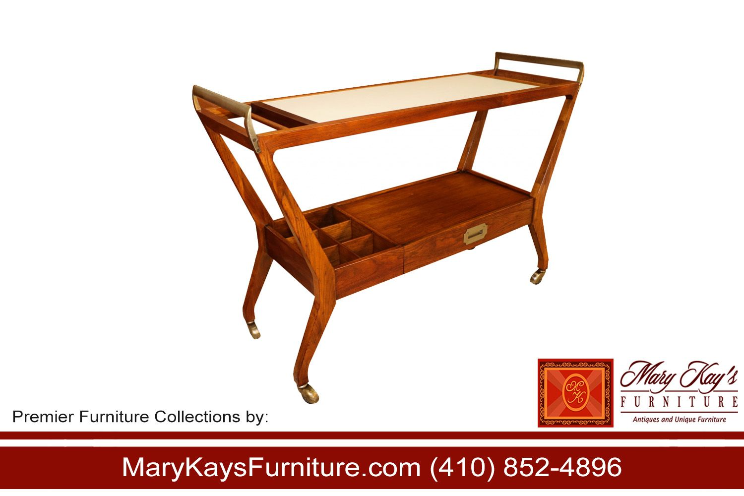 exceptional mid century rolling bar cart by baker furniture company