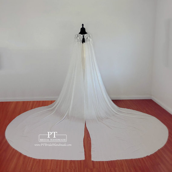 Cathedral Wedding Cape 54 Wedding Capelet by PTBridalHandMade