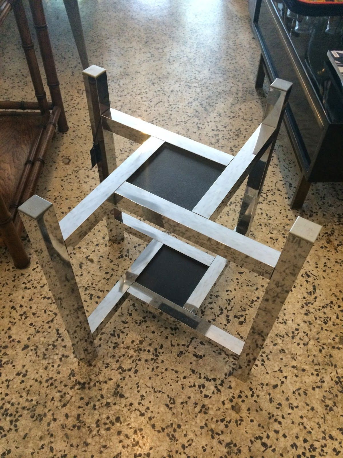 Milo baughman style geometric chrome side table base mid century modern table mid century modern