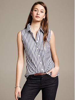 74b0abf3c64c1 Operation  Dress Like a Grown-Up Woman. Fitted Non-Iron Striped Sleeveless  Shirt