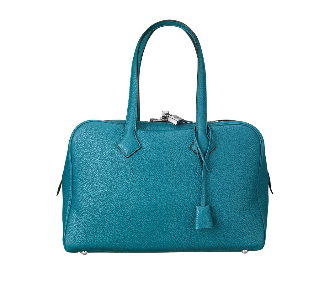 Hermes Victoria II 35cm Taurillon Clemence color Bleu Izmir. front.