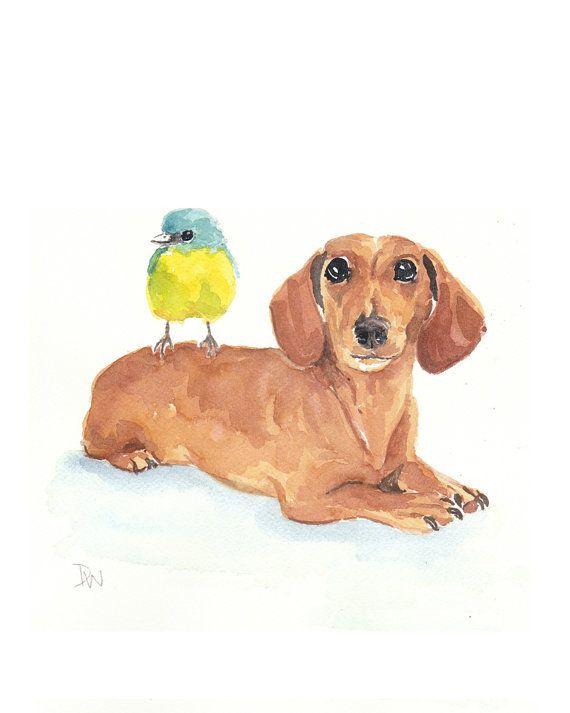 Dog Watercolor Painting Original Art Dachshund Bird