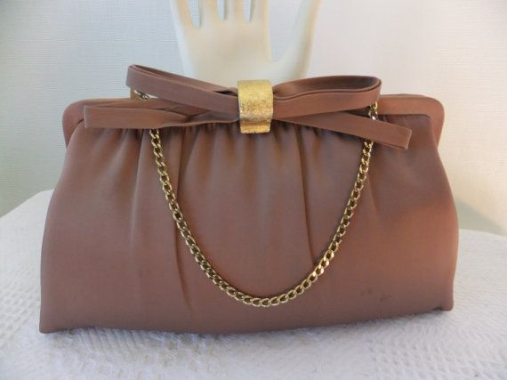 98b9b2ede08 Vintage After Five Satin Taupe Brown Evening Clutch Bag with Chain Formal  Retro Accessories on Etsy, $25.00