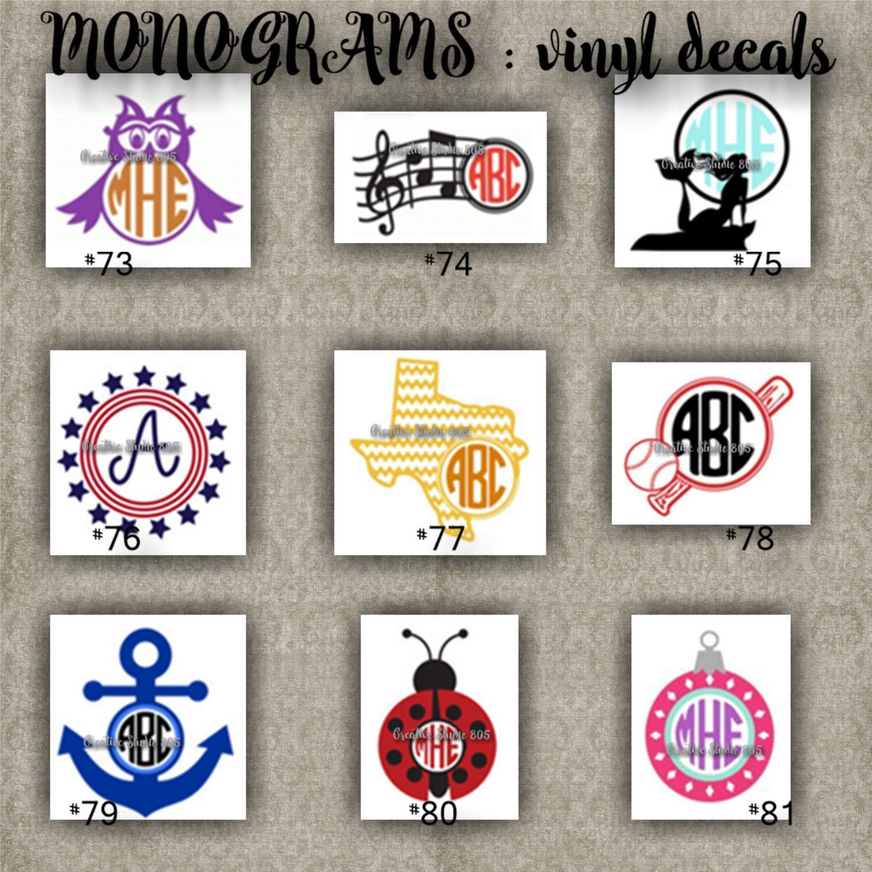 MONOGRAM Vinyl Decals Name Initial Decal Sticker Car - Monogrammed custom vinyl decals for car