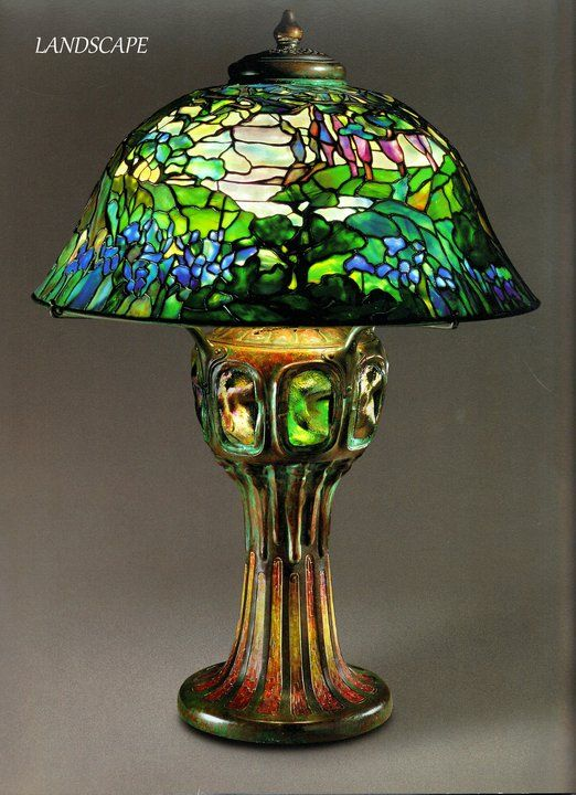 Tiffany Lanscape Scenic Lampshade Art Leaded And Stained Opalescent Glass Stained Glass Lamp Shades Antique Lamp Shades Tiffany Lamps
