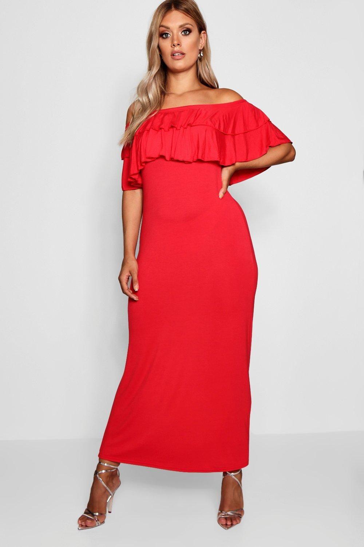 Plus off the shoulder ruffle maxi dress plus size off the shoulder