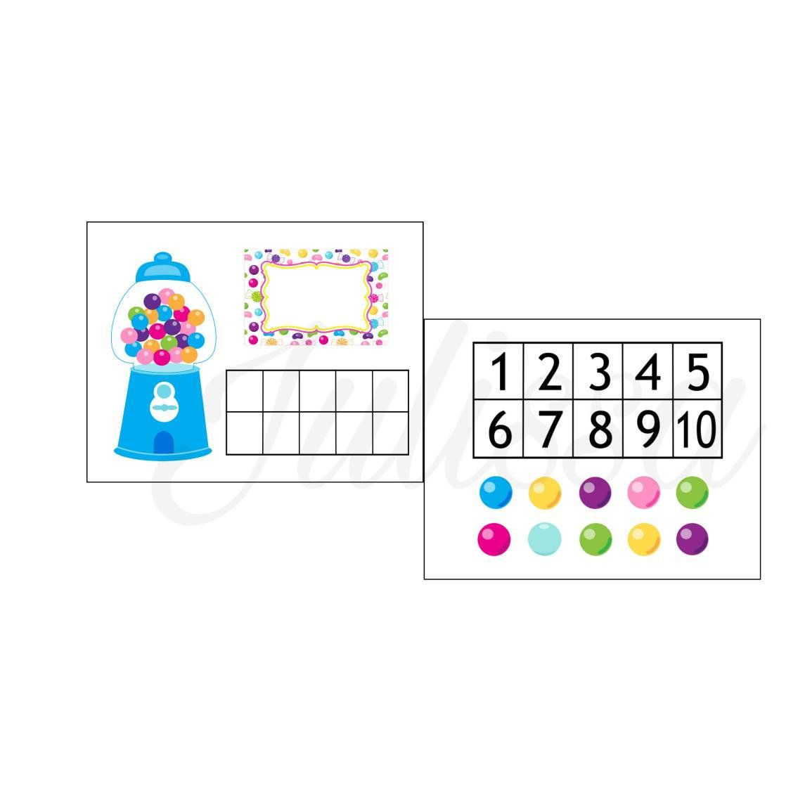 Counting Gumballs File Folder Game Learning Numbers