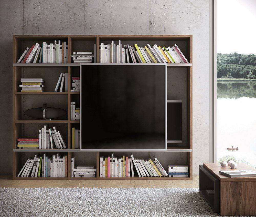 bibliotheque meuble tv avec cache ecran