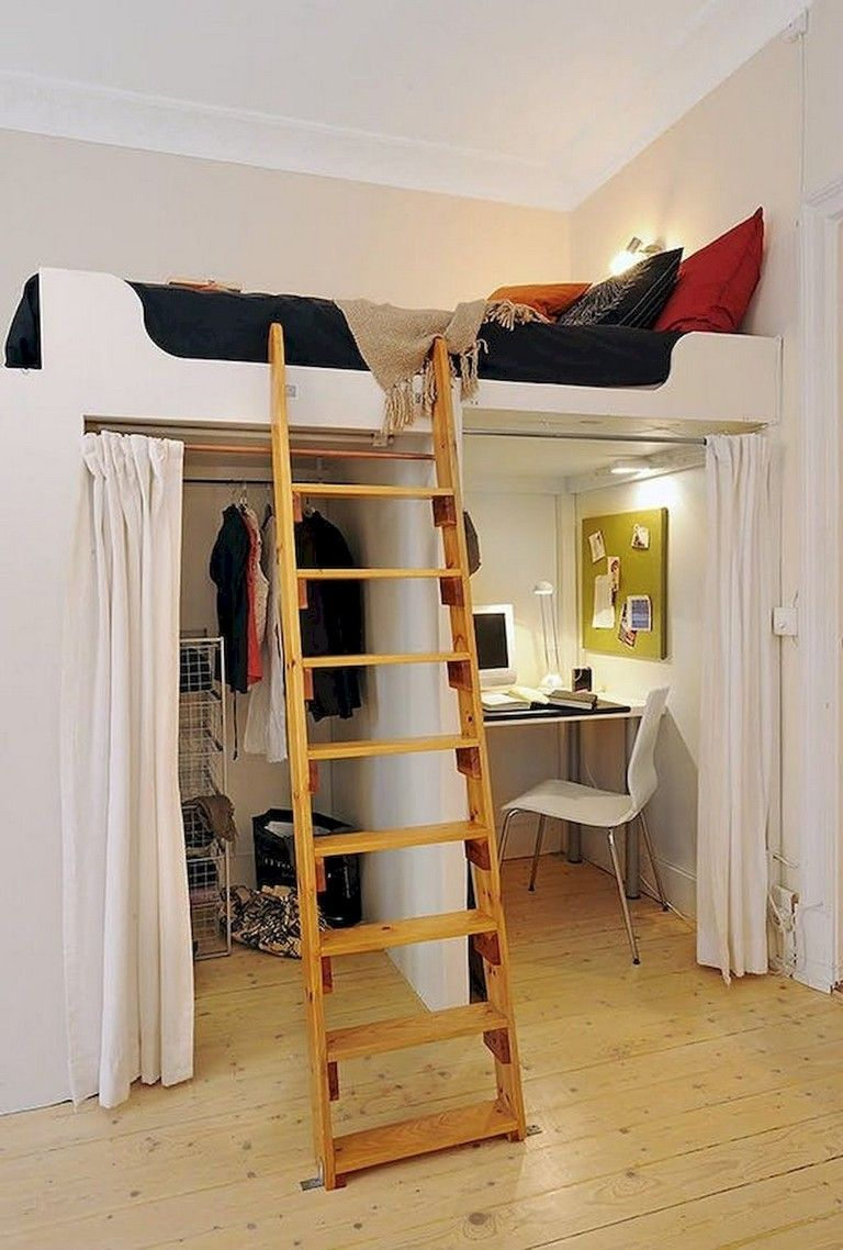 50 Awesome Tiny Loft Apartment Design Ideas Small Rooms Small