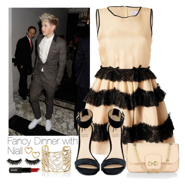 """""""Fancy Dinner with Niall"""" by girlindira ❤ liked on Polyvore featuring RED Valentino, Rihanna For River Island, Salvatore Ferragamo, River Island, Marc by Marc Jacobs, Boohoo, Lord & Berry, OneDirection, Niall and NiallHoran"""