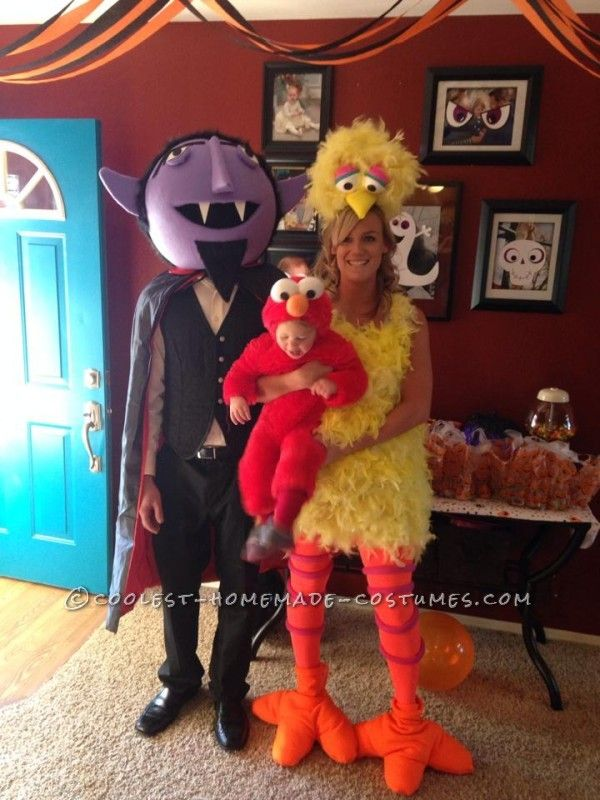 cool diy count big bird and baby elmo family halloween costumes - Halloween Costumes Elmo
