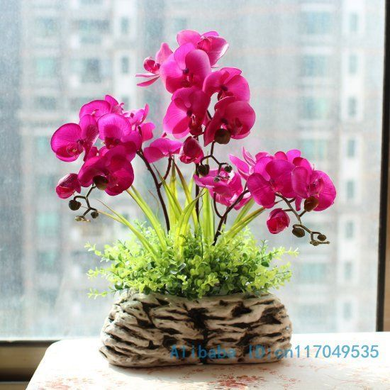 Flower Arrangement Ikebana Arranged Artificial Butterfly Orchid Silk Flower Include Vase Home Decoration Fv64 Us 64 99