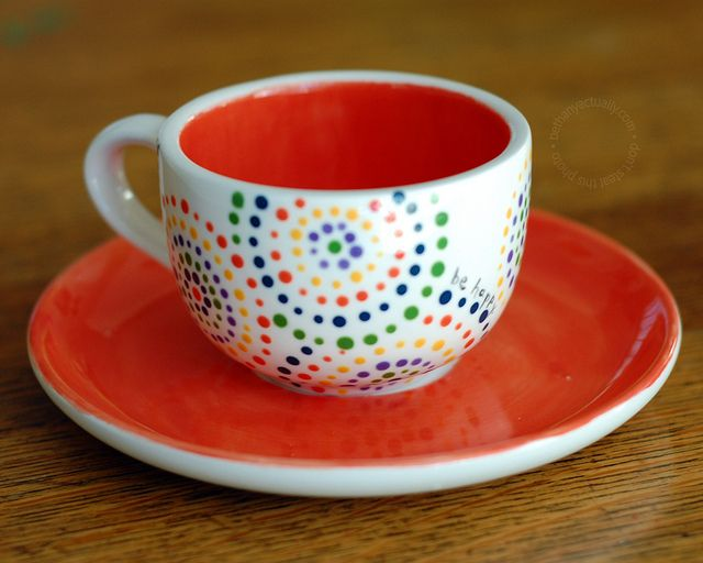 Colorful Dottery Teacup And Saucer Pottery Painting Designs Pottery Painting Paint Your Own Pottery