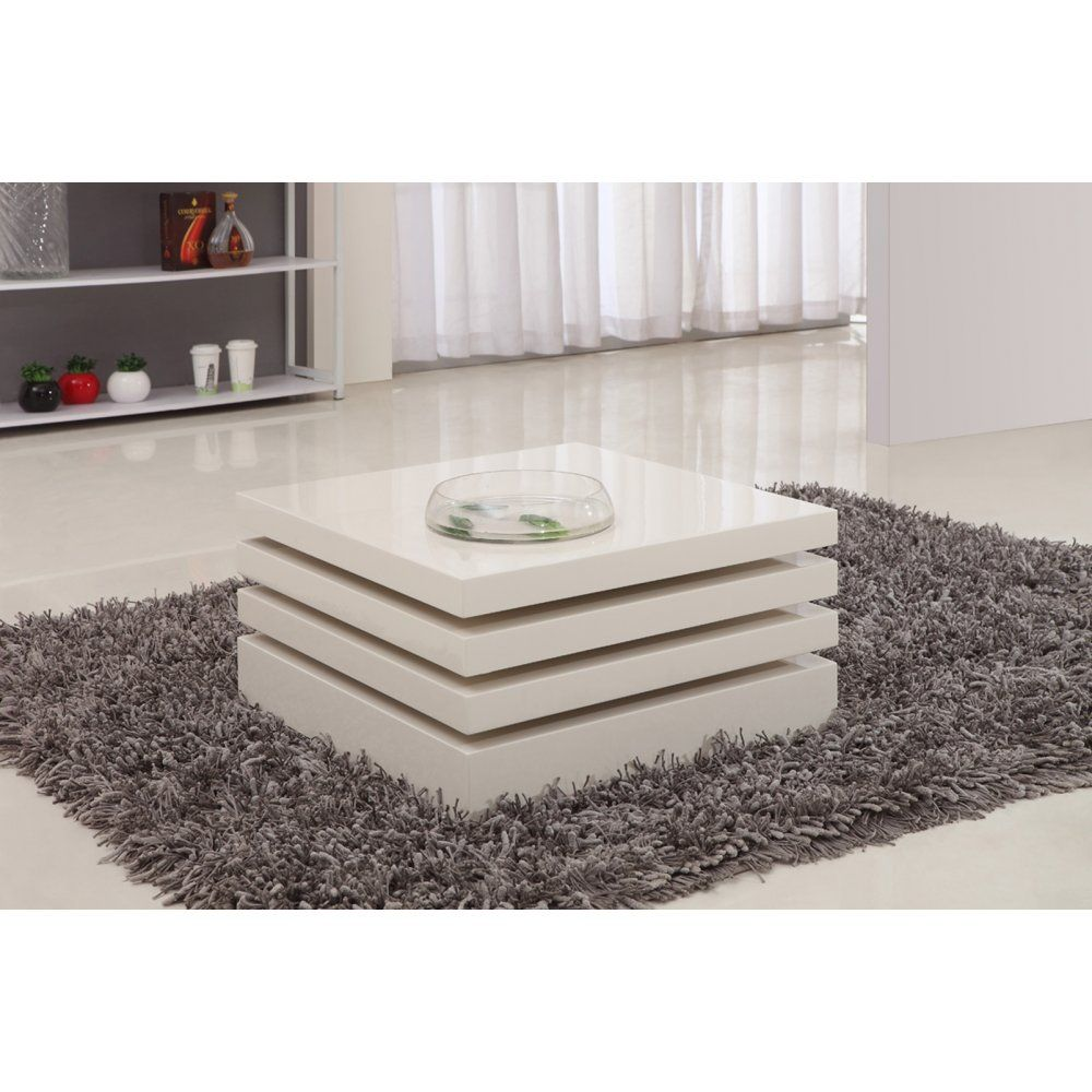 Giomani Designs Kyra White Hi Gloss Rotating Coffee Table