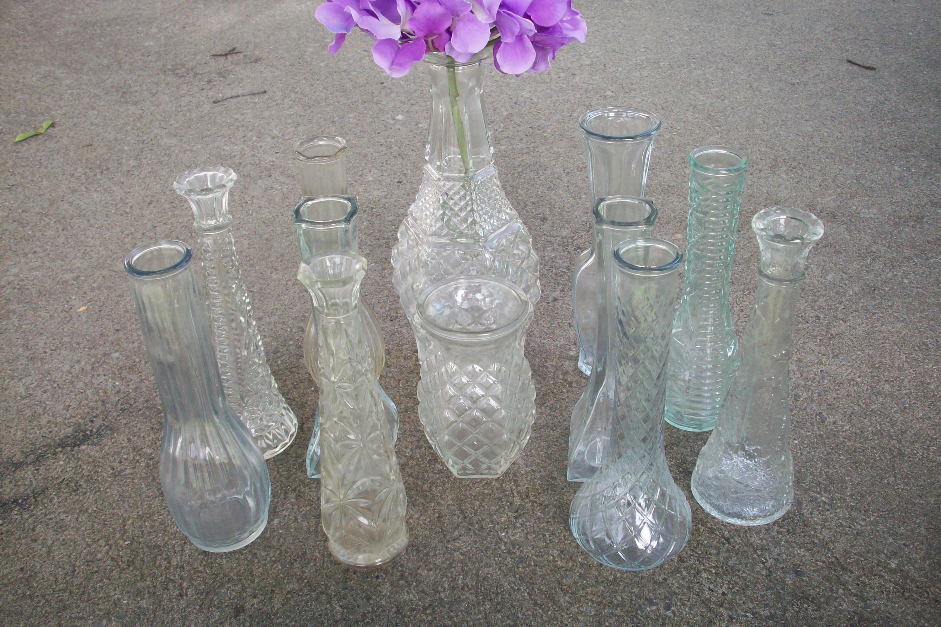 HOLD for MaryAnn se set Vintage Bud Vase collection set of 12