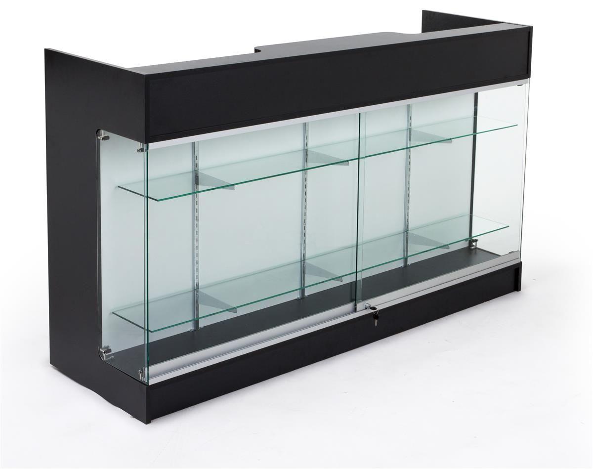 6ft Cash Wrap W X2f Display Case Front Locking Drawers Amp Shelves On Backside Black Glass Shelves Drawer Shelves Shelves