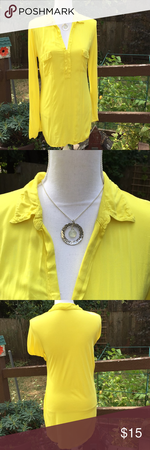 Yellow tunic, sassy and fun. Good used condition. Sleeves roll up with for  another look. Splendid Tops Tunics
